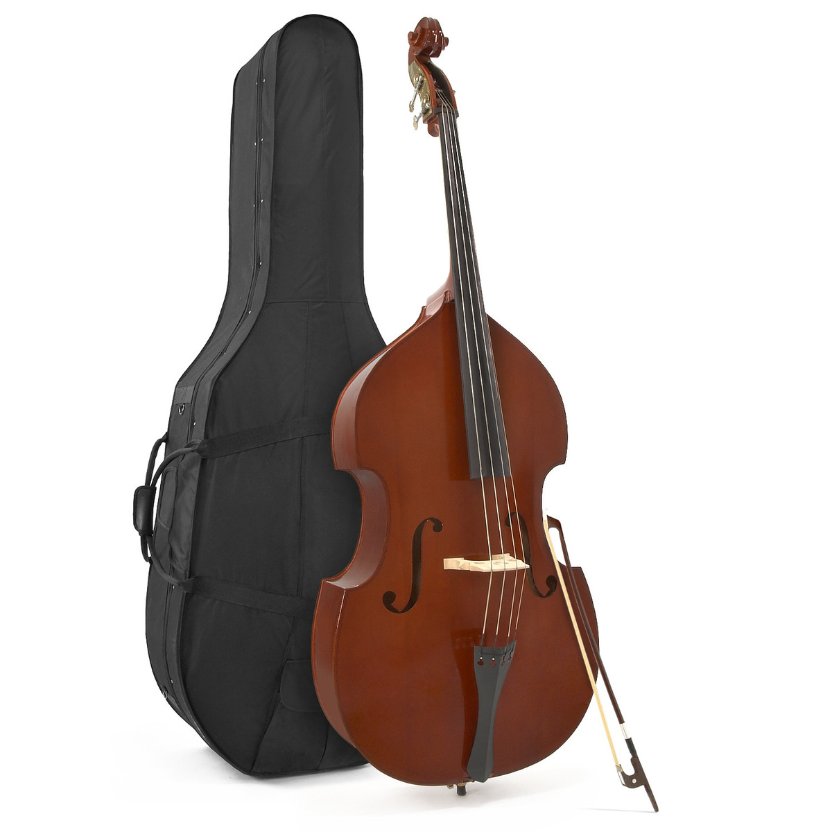 Image of Deluxe 3/4 Solid Top Double Bass + Case by Gear4music