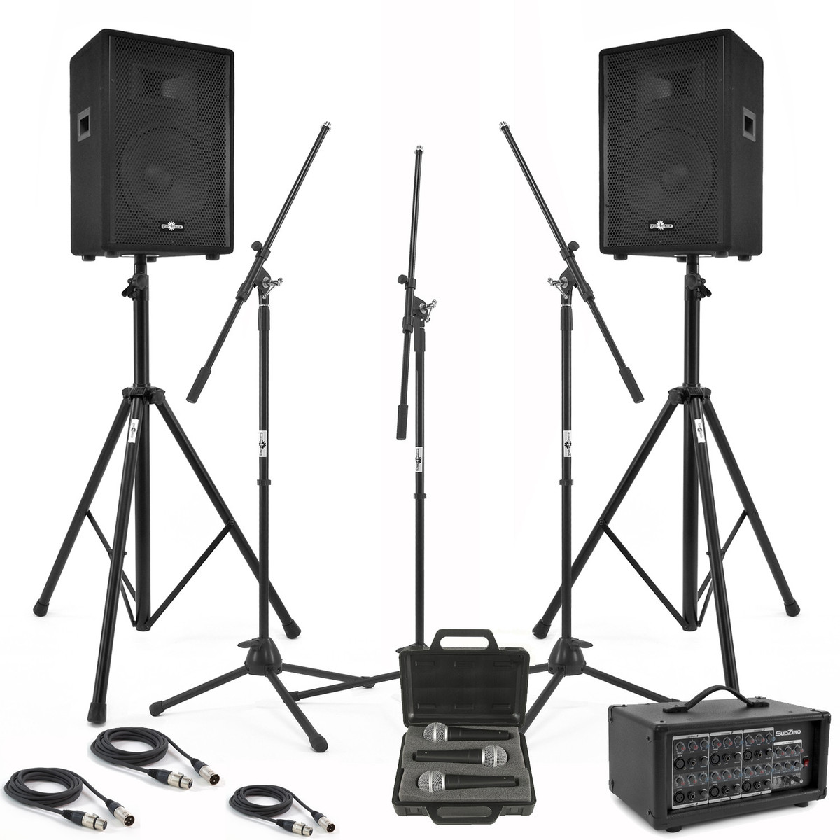 400W PA System Bundle with Powered DSP Mixer, Stands + Mics