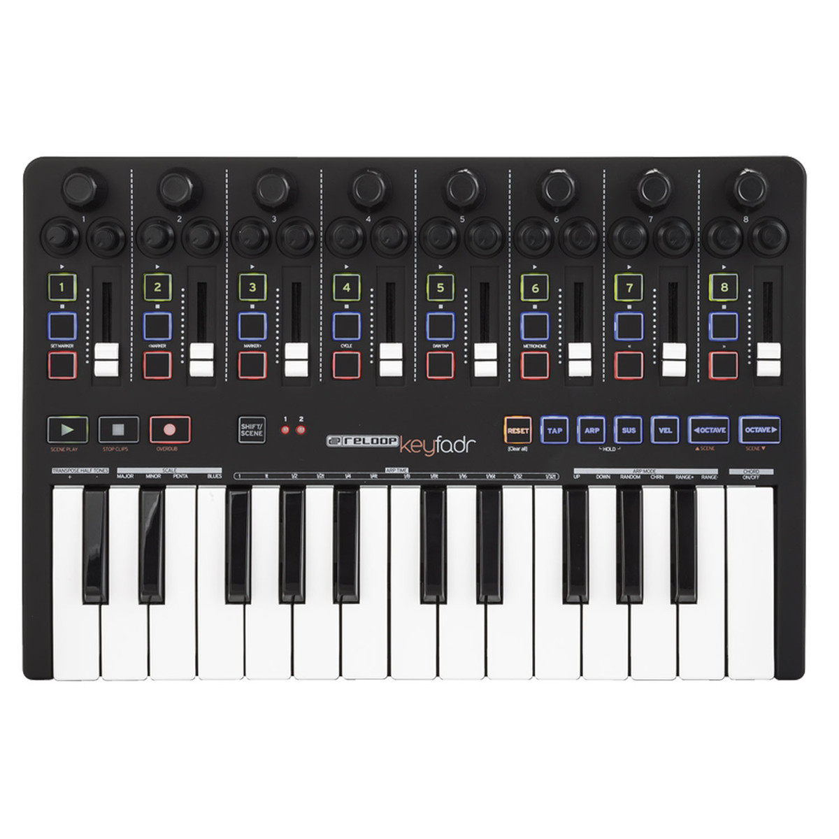 Reloop Keyfadr Midi Controller With Faders And Keyboard