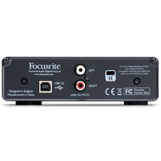 Focusrite Scarlett Solo USB Audio Interface (Back Panel)