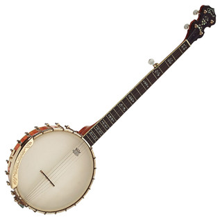 Ozark 5 String Banjo Flamed Maple, Gold Open Back