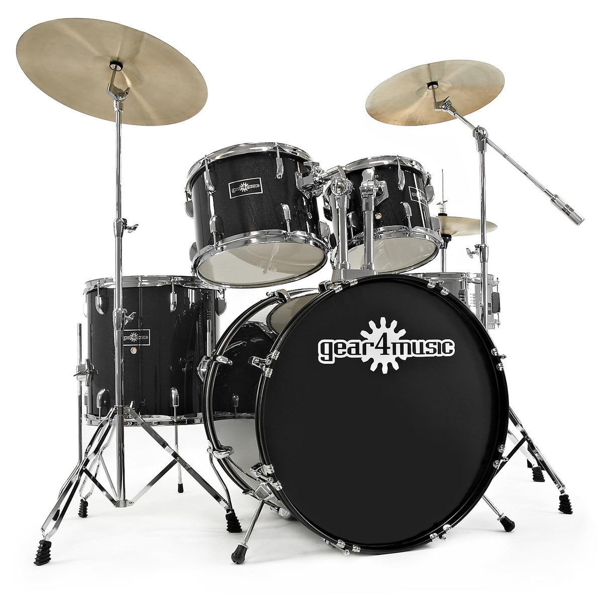 gd 7 fusion drum kit by gear4music black sparkle at. Black Bedroom Furniture Sets. Home Design Ideas