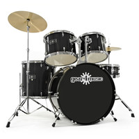GD 2 Drum Kit by Gear4music Black