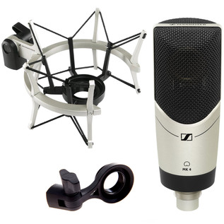Sennheiser MK4 Large Diaphragm Side Address Mic + Shock Mount Bundle