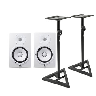 Yamaha HS7W Full-Range Studio Monitor, White with Monitor Stands