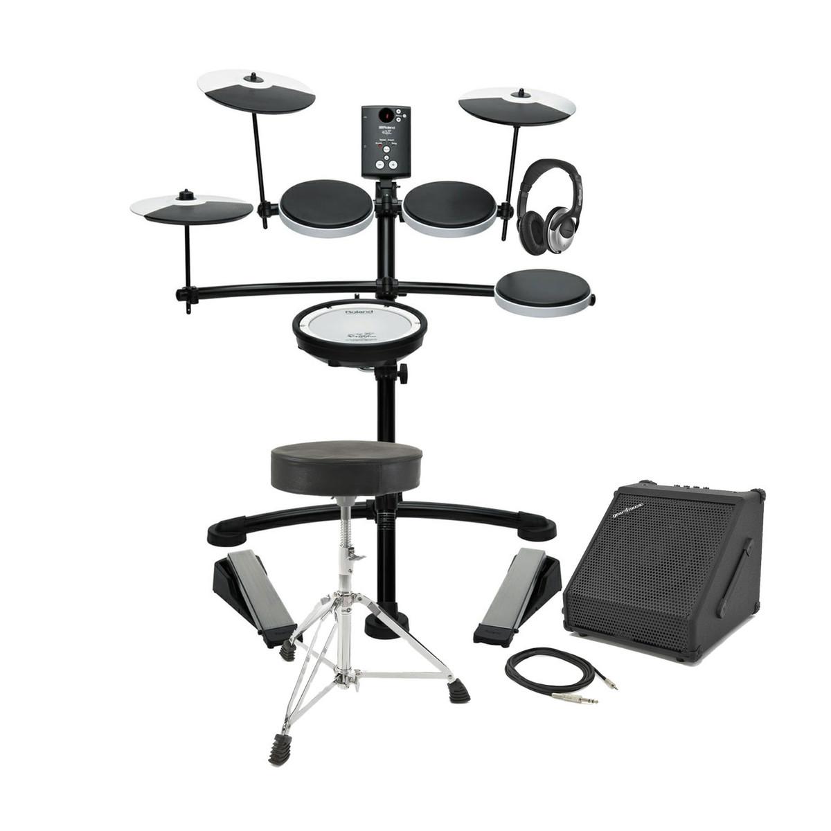 roland td 1kv v drums electronic drum kit with amp stool. Black Bedroom Furniture Sets. Home Design Ideas