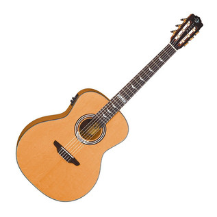 Luna Art Deco Inspired Nylon Electro Acoustic Guitar, Natural