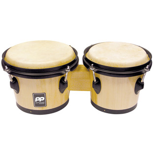 Performance Percussion Bongos, Natural Wood, Black Hardware