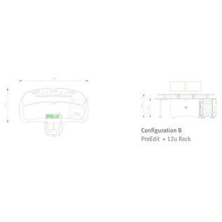 AKA Design ProEdit Studio Desk with 12U Rack, Blue and Maple