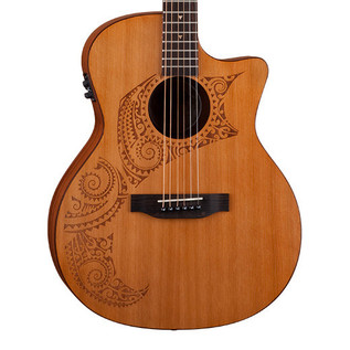 Luna Oracle Tattoo Grand Concert Electro Acoustic Guitar