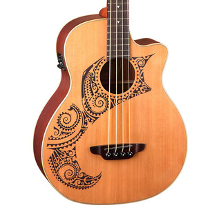 Luna Tattoo Electro Acoustic Bass, Cedar