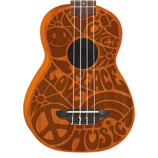 Luna Peace Love Soprano Ukulele, Etched 60s Design