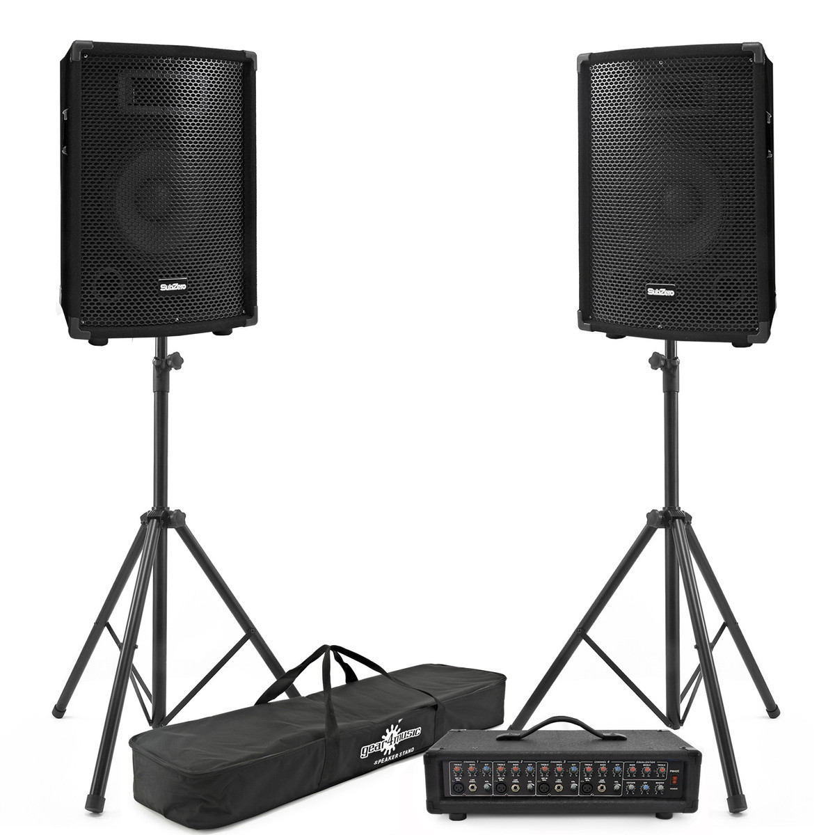 Image of 150W SubZero PA Package with FX Mixer Speakers and Stands