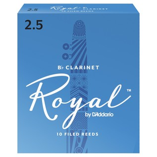 Royal by D'Addario Bb Clarinet Reeds 2.5 Strength, Pack of 10