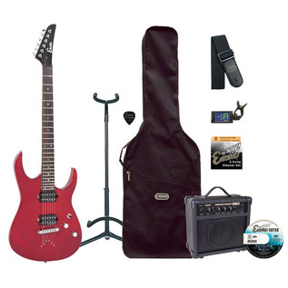 Encore E89 Electric Guitar Outfit, Thru Red