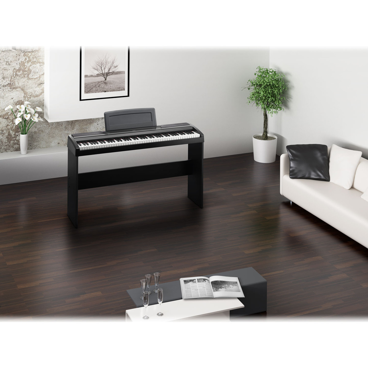 Korg SP-170S Compact Piano, Black + Stand, Bench and Headphones 5
