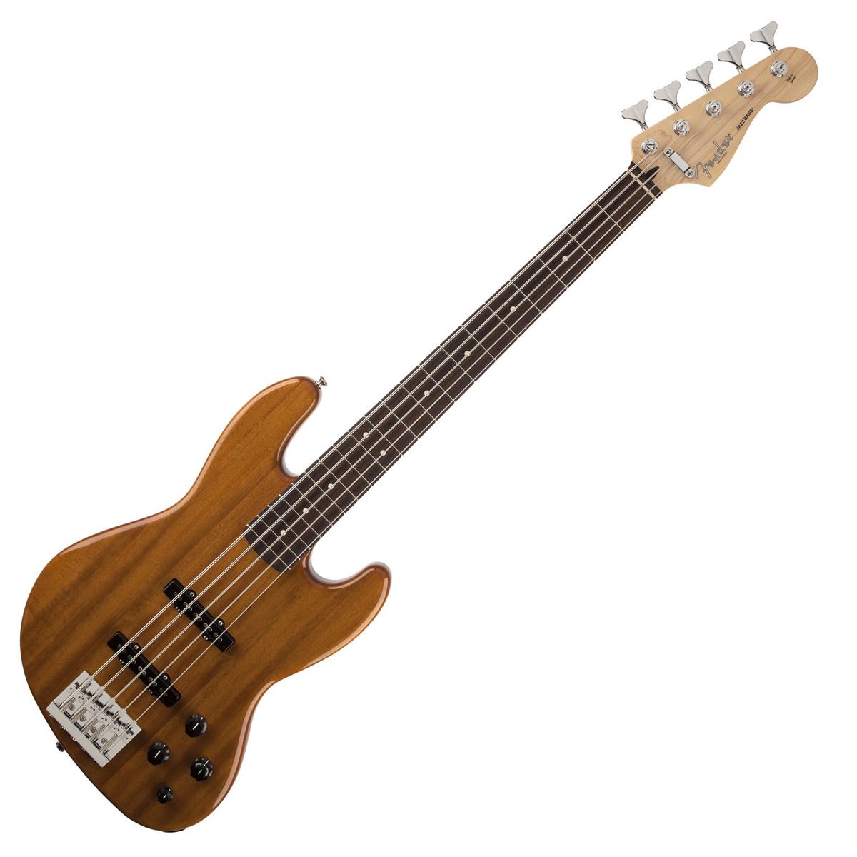 fender deluxe active jazz bass v 5 string bass guitar okume natural at. Black Bedroom Furniture Sets. Home Design Ideas