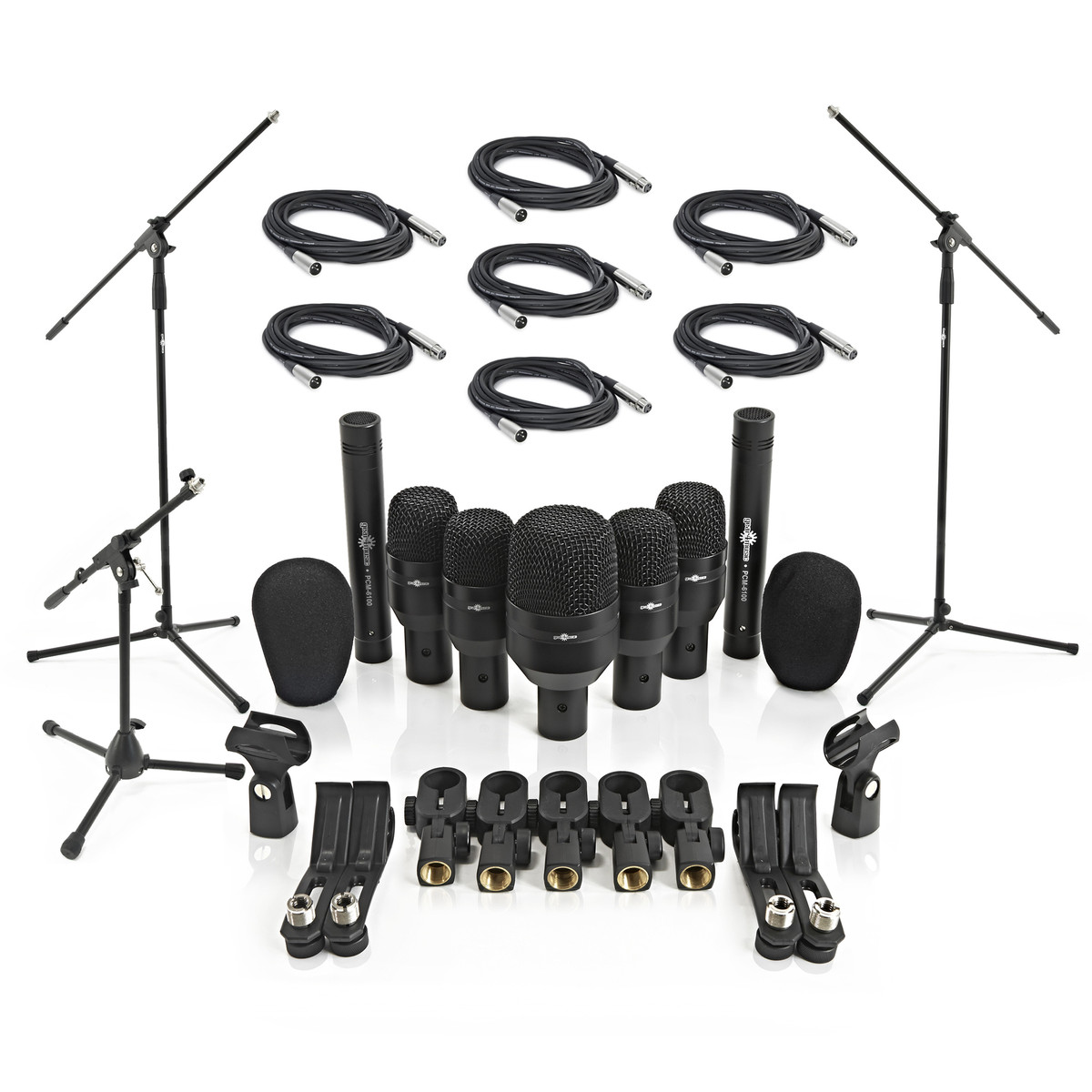 Image of 7 Piece Drum Mic Complete Set Including Stands and Cables