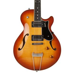Godin Montreal Supreme Semi Hollow Guitar, Lightburst Flame HG