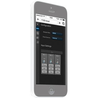 Motu 112D Thunderbolt AVB and USB Audio Interface, iPhone Web App