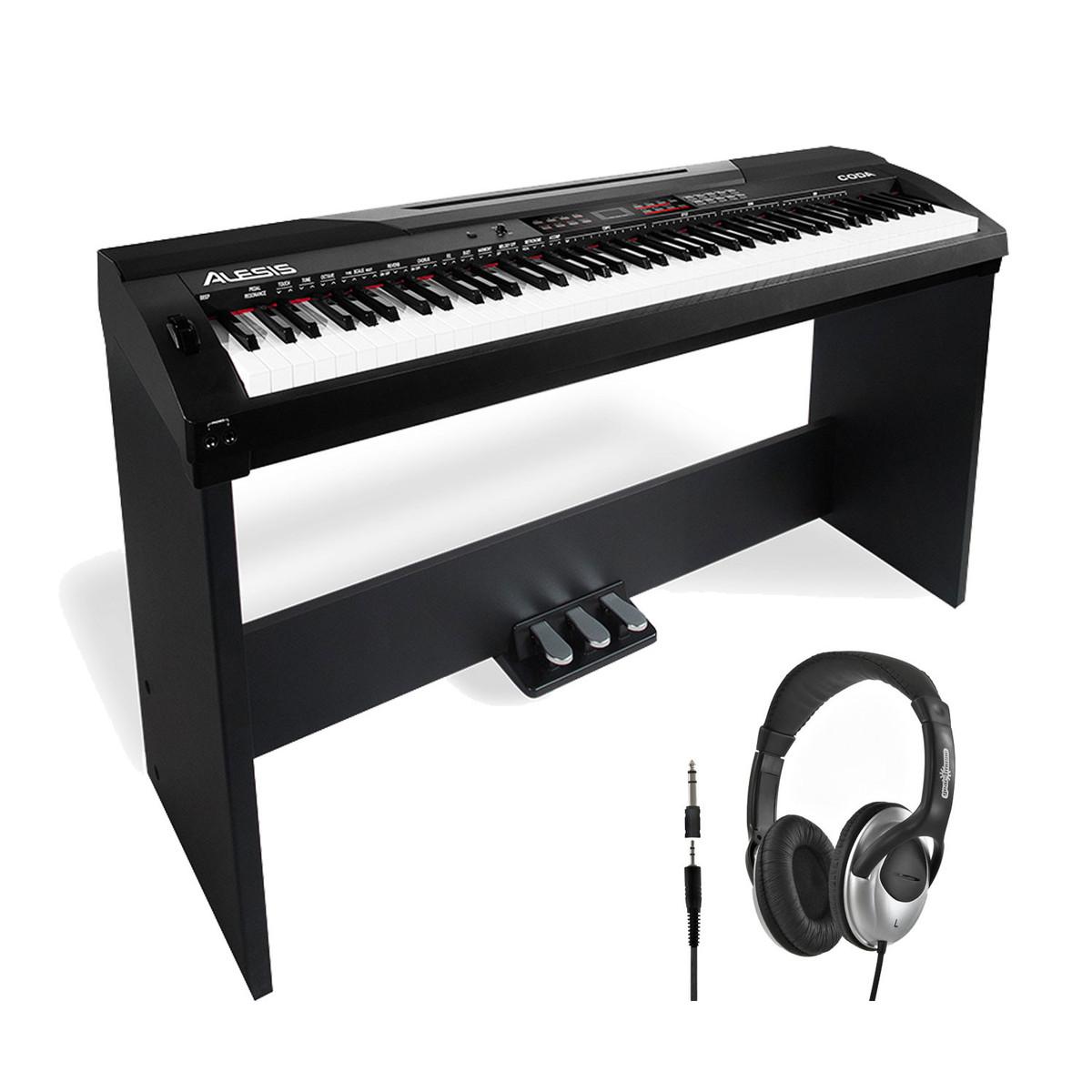disc alesis coda piano num rique de 88 touches avec support et casque. Black Bedroom Furniture Sets. Home Design Ideas