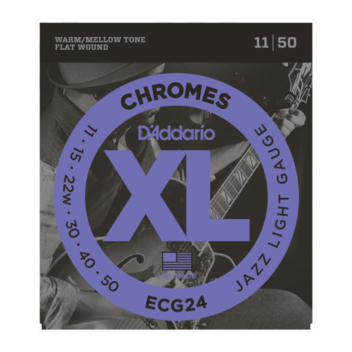 Image of DAddario ECG24 XL Flatwound Chromes Jazz Light 11-50