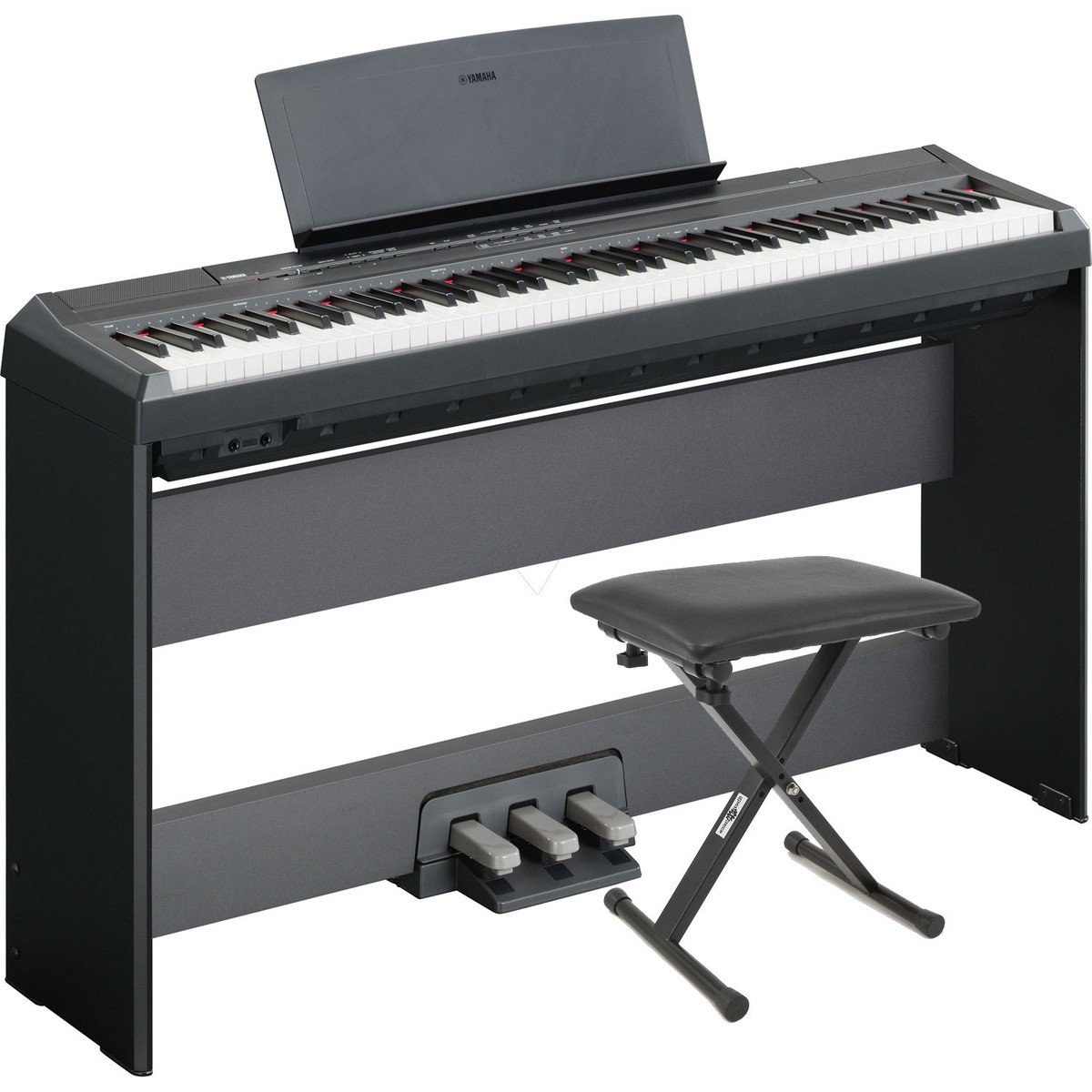 Yamaha P105 Digital Piano, Black with Stand, Pedal Board and Bench