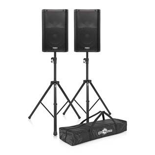QSC K12 Active PA Speakers with Stands