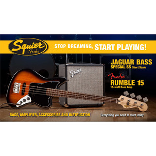 Squier Stop Dreaming, Start Playing Jaguar Bass SS Pack, Sunburst