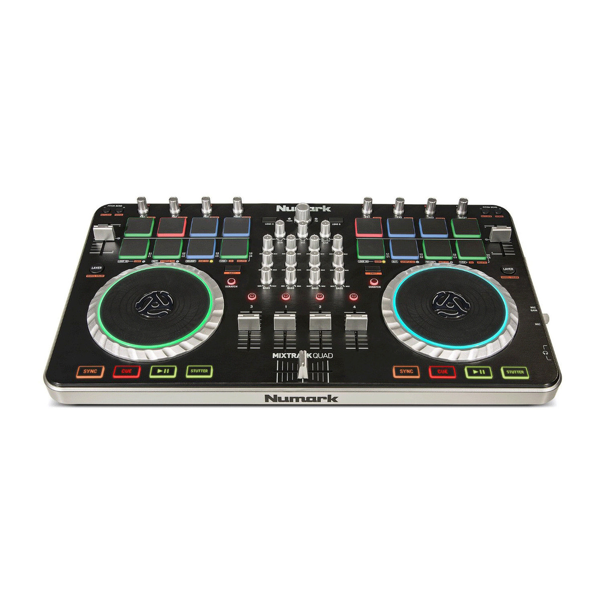 disc numark mixtrack quad dj controller with free prime loops pack at. Black Bedroom Furniture Sets. Home Design Ideas