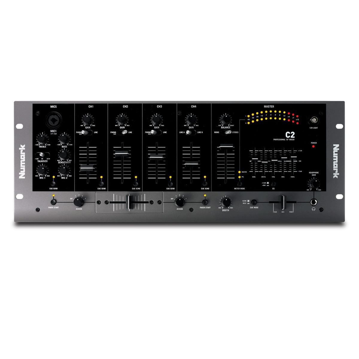 numark c2 4 channel rack dj mixer with 5 band eq at. Black Bedroom Furniture Sets. Home Design Ideas