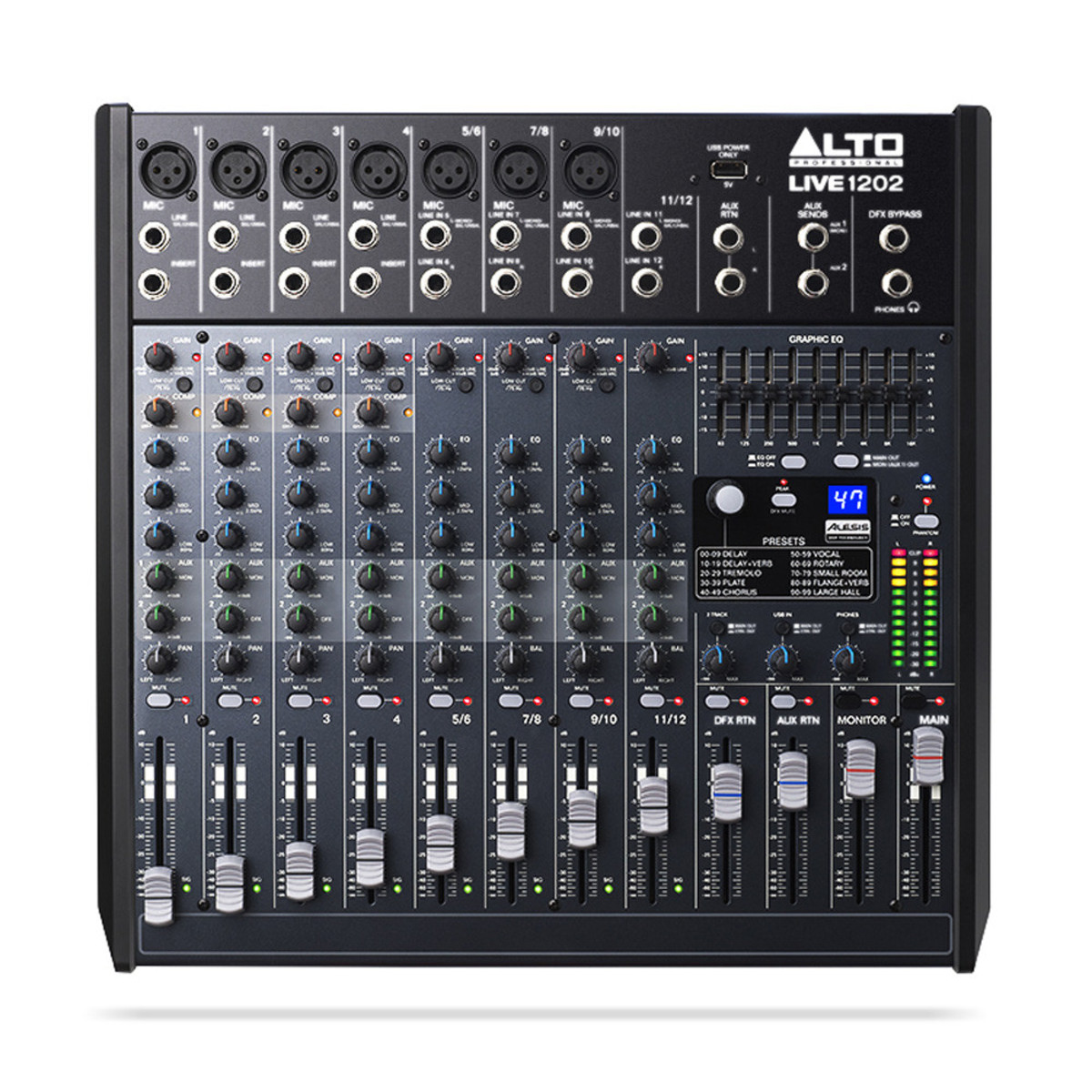 alto 12 live de 1202 table de mixage d 39 usb avec dsp. Black Bedroom Furniture Sets. Home Design Ideas