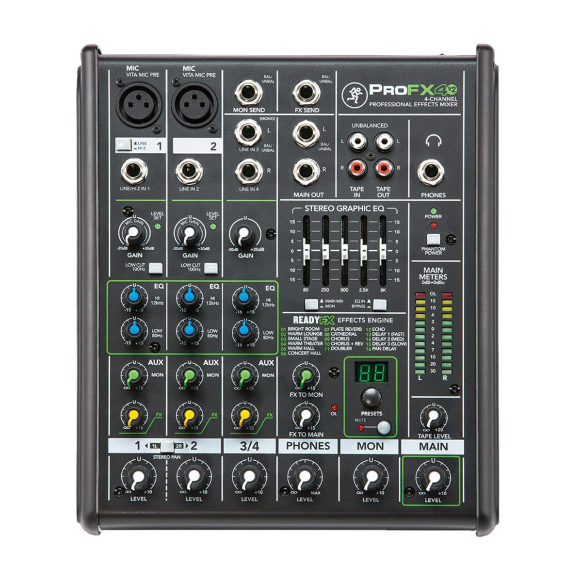 Mackie profx4v2 4 channel professional effects mixer at for Mesa mezclas barata