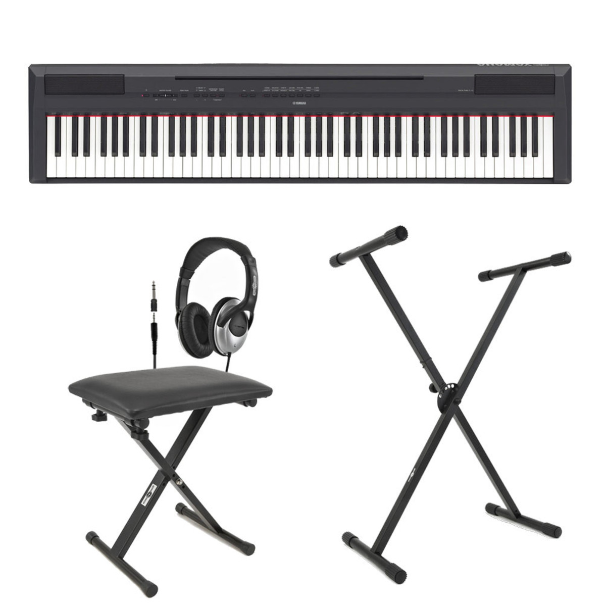 yamaha p 115 digital piano black inc stand bench and headphones at. Black Bedroom Furniture Sets. Home Design Ideas