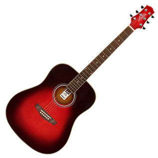Ashton D24 Dreadnought Acoustic Guitar, Transparent Red
