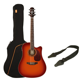 Ashton SPD25CEQ Electro Acoustic Guitar Starter Pack, Cherry Sunburst