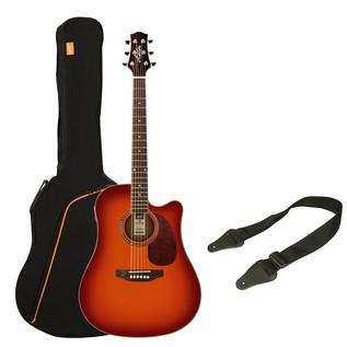 Ashton SPD25CEQ Electro Acoustic Guitar Starter Pack, Cherry Sunburst
