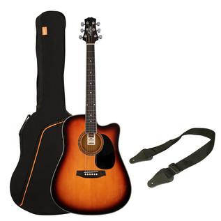Ashton SPD25CEQ Electro Acoustic Guitar Pack, Tobacco Sunburst