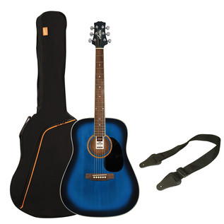 Ashton SPD25 Acoustic Guitar Starter Pack, Transparent Blue Burst