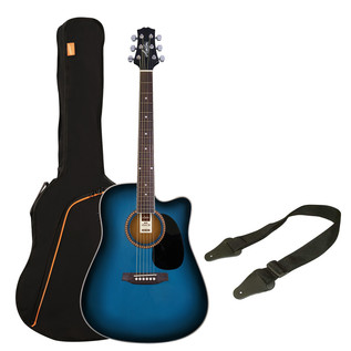 Ashton SPD25CEQ Electro Acoustic Guitar Pack, Transparent Blue Burst