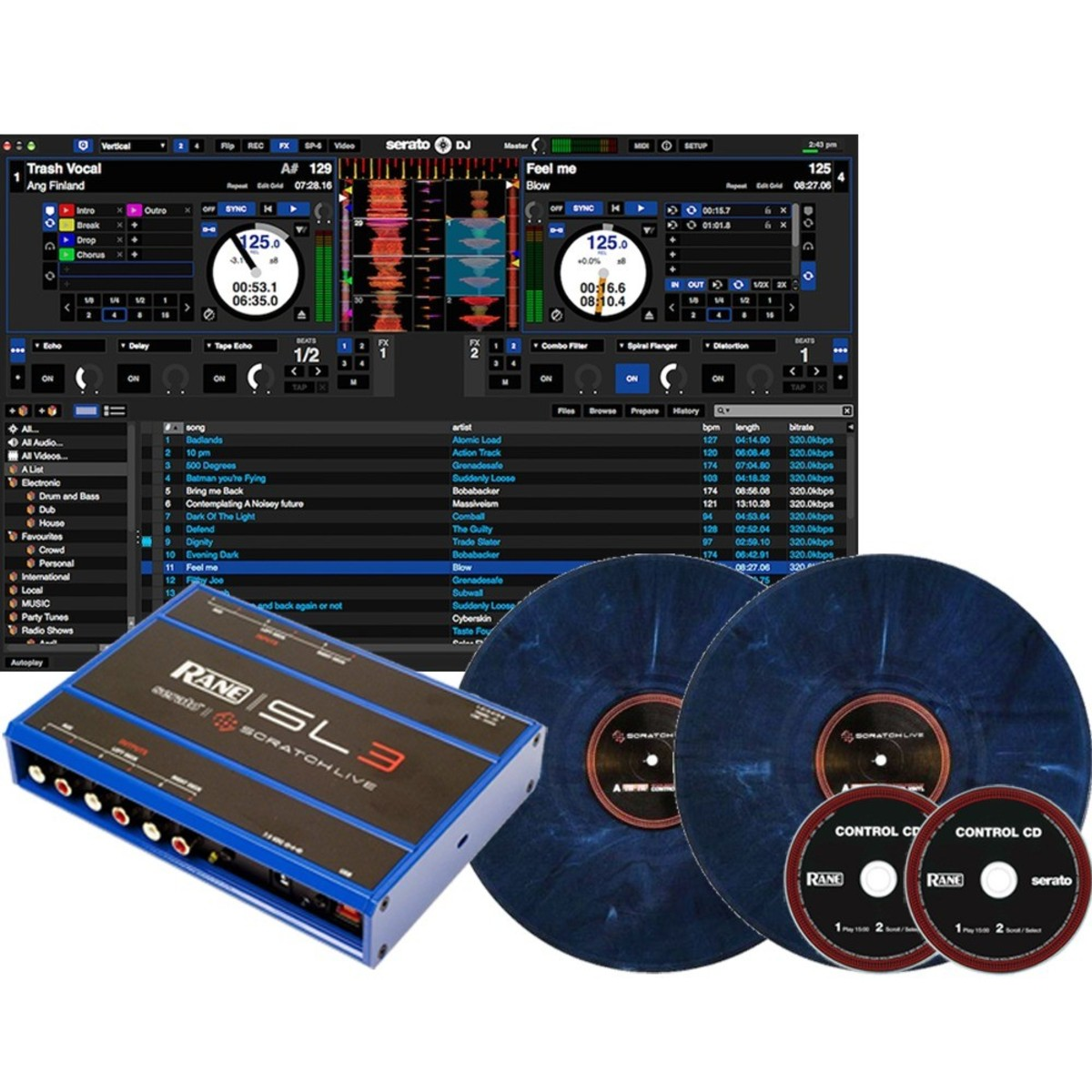 rane sl3 serato scratch live digital vinyl system blue at. Black Bedroom Furniture Sets. Home Design Ideas