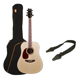 Ashton SPD25L Left Handed Acoustic Guitar Pack, Natural Matte