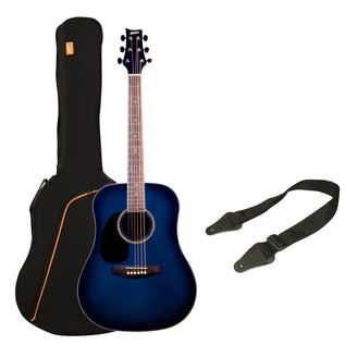 Ashton SPD25L Left Handed Acoustic Guitar Pack, Trans Blue Burst