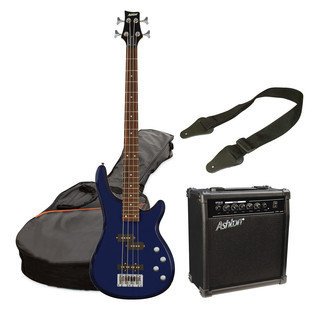 Ashton SPAB4 Bass Guitar Starter Pack, Transparent Dark Blue