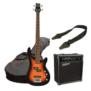 Ashton SPAB4 Bass Guitar Starter Pack, Tobacco Sunburst