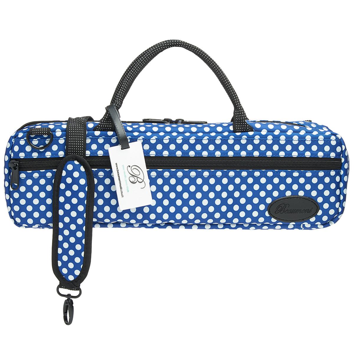 Disc beaumont blue polka dot fl te cas sac de transport for Housse flute traversiere