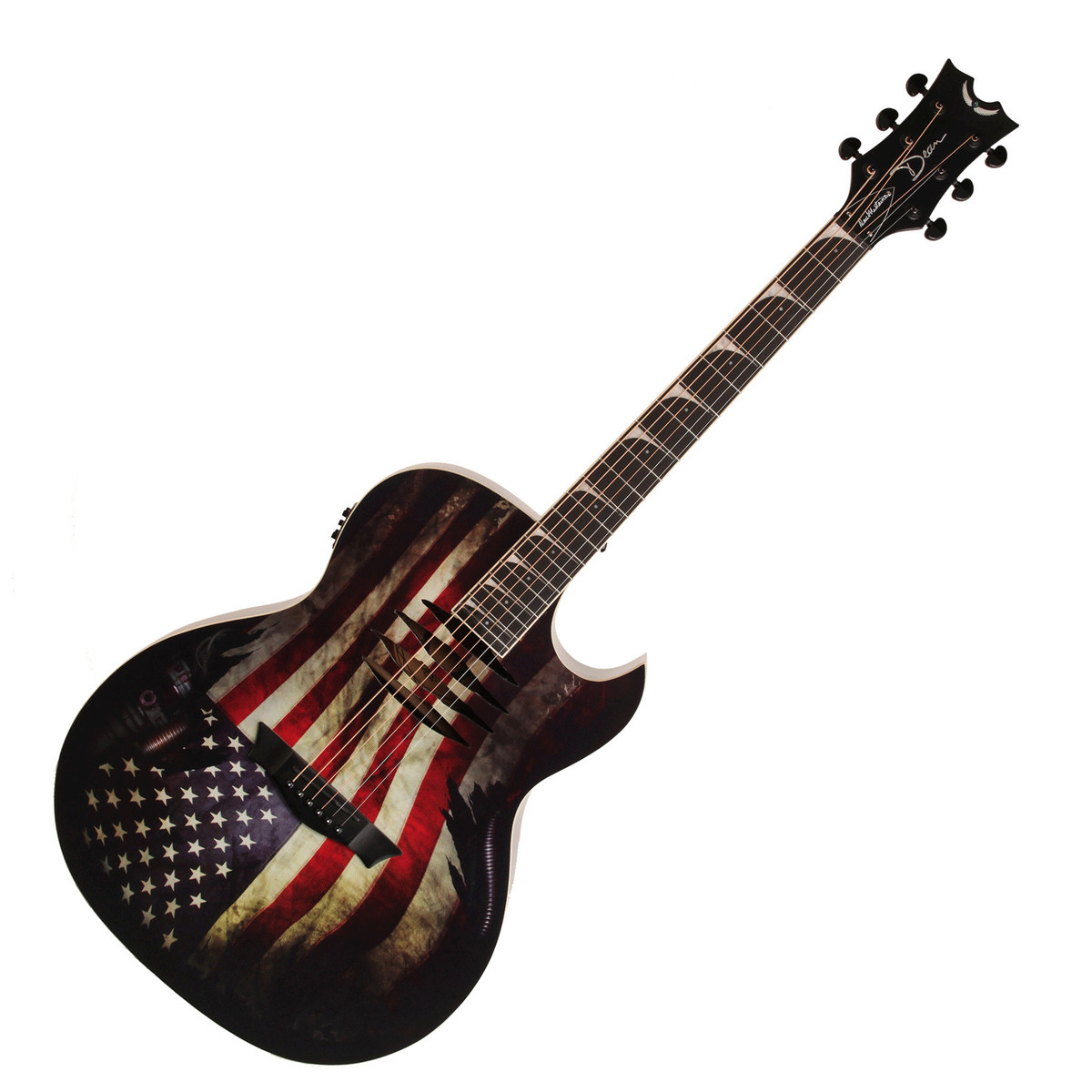 dean mako dave mustaine electro acoustic guitar usa flag at. Black Bedroom Furniture Sets. Home Design Ideas