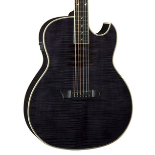 Dean Mako Dave Mustaine Flamed Electro Acoustic Guitar, Trans Black