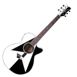 Dean Michael Schenker Performer Electro Acoustic Guitar, White/Black