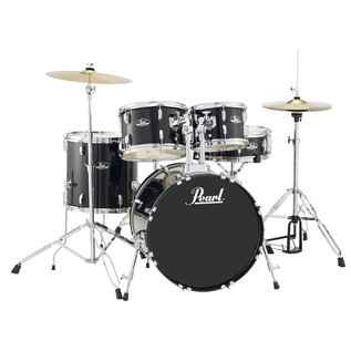 Pearl Roadshow 5 Piece Fusion Drum Kit, Jet Black